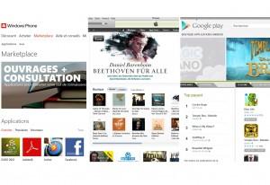 Marketplace, itunes et Google Play...