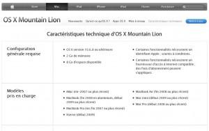 Mountain Lion: les spécifications.