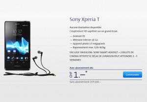 Le Sony Xperia T est disponible en pré-commande chez Swisscom.