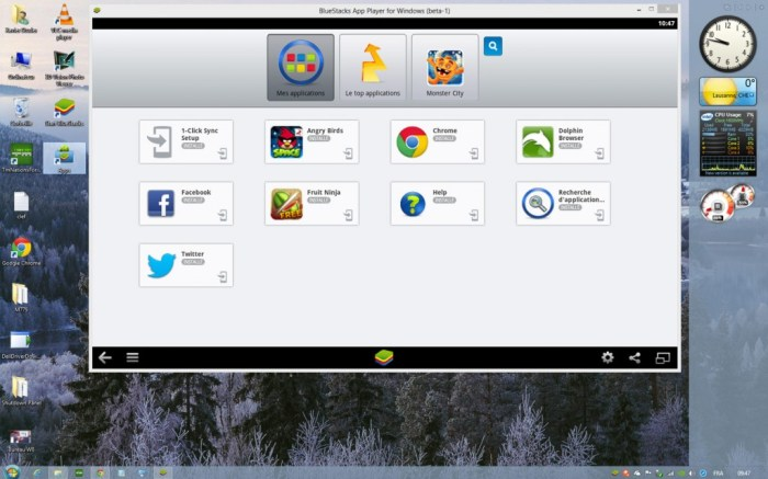 BlueStacks sur un bureau Windows 8, gonflé un brin...