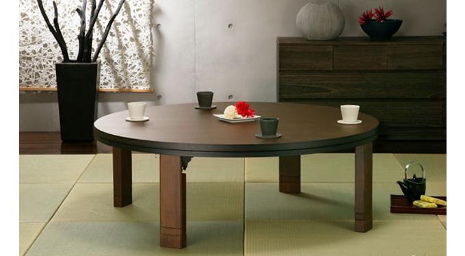 和モダンのインテリアローテーブル、丸型こたつにもなる