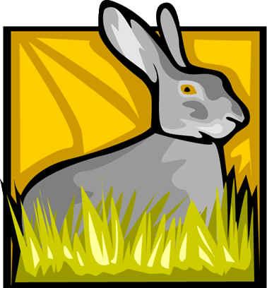 conejo libre gris con pasto verde
