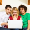 domestic life: three friends studying at home