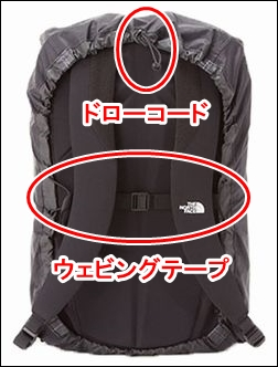 ザノースフェイス レインカバー シャトル ディパック NM91606 K ブラック シャトルデイパック 専用 NM81602 止水ジッパー 防水加工 ナイロン素材 表面 浸水 止水ファスナー 純正品 リュック リュックサック ザック デイパック バックパック ナップサック 写真 画像 プロヒューズボックス BCヒューズボックス 使用 無理 不可能 大きさ サイズ 理由 原因 裏側 見た目 図解 ウェビングテープ ドローコード フィット感 安定性 向上 機能性 スペック