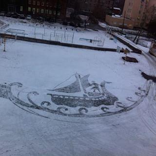 雪かきアート8