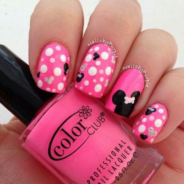 uñas rosa de Disney
