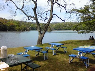 一碧湖の湖畔