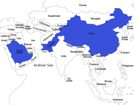 map showing Saudi Arabia, Pakistan and Gwadar Port, and China