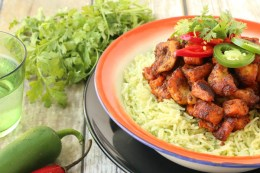 Chile-Roasted Chicken & Sweet Potato with Cilantro Rice