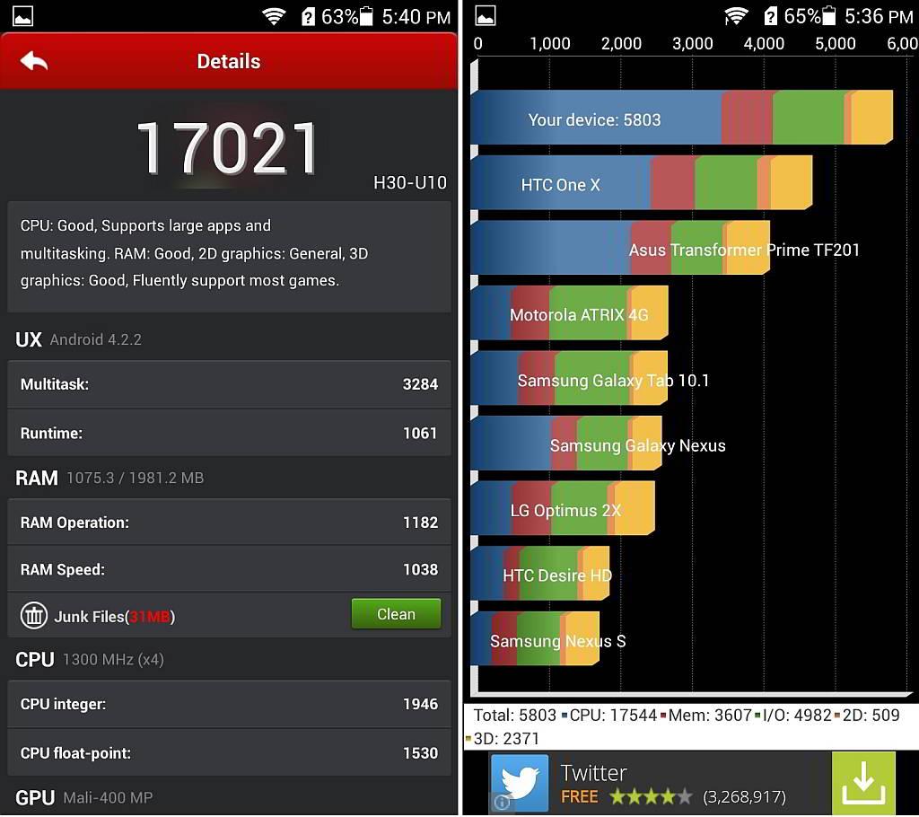 screenshot huawei honor 3c benchmark