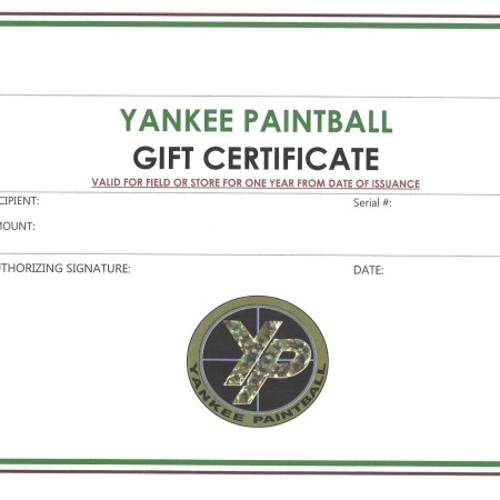 Paintball Field & Store Gift Certificate