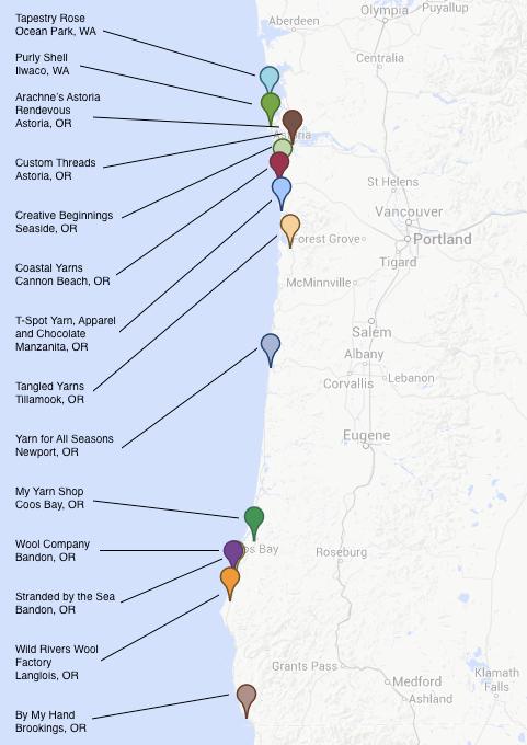 Yarn Crawl 101 Map