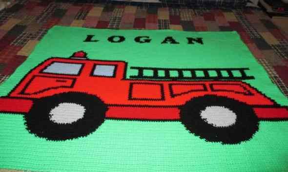Fire Truck Graphghan