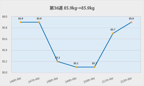 ダイエット第36週のグラフ