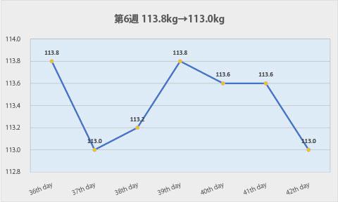 ダイエット第6週のグラフ