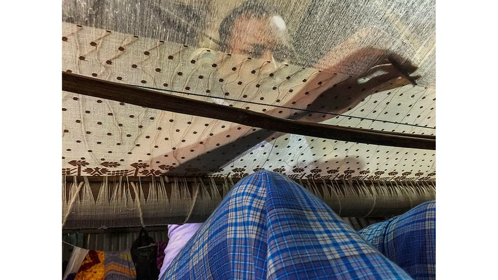 Many of the skills needed to make Dhaka muslin have been lost, so matching the quality of the original fabric is a challenge (Credit: Drik/ Bengal Muslin)