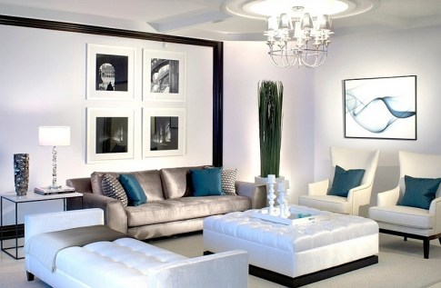 Lavish-black-and-white-living-room-with-posh-blue-accents