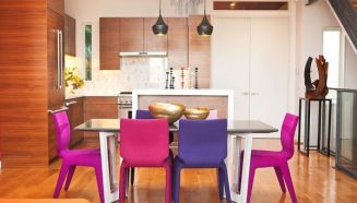 Dining-space-with-chairs-in-fuchsia-and-violet-add-color-to-contemporary-style