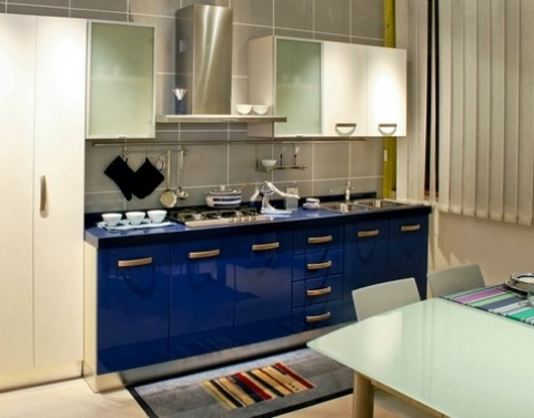 Blue kitchen counter