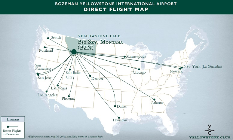 Map of direct flights into Bozeman, Montana.