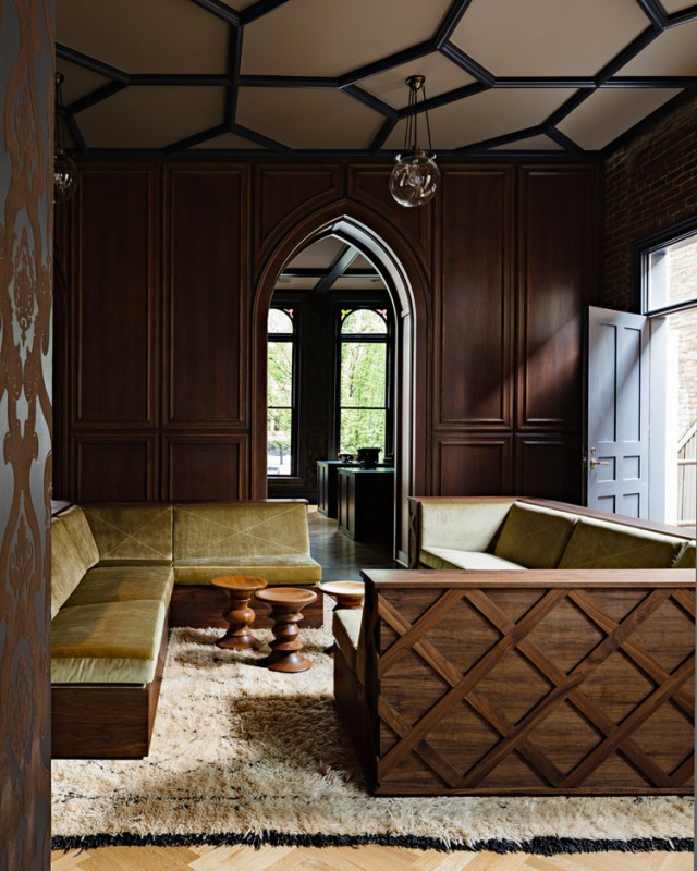interior design, timber, gothic, wall panelling, wallpaper, banquette, ceiling,