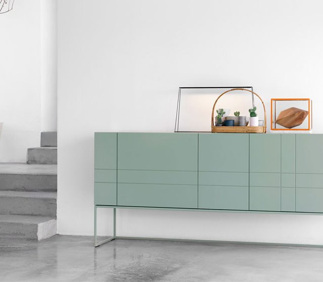 Asplund Furniture, KILT cabinet, concrete floor, green, white, product styling