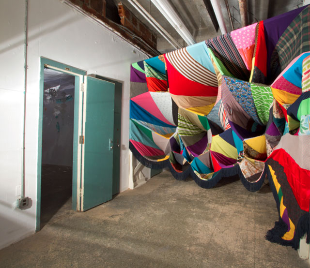 Prismatic Vortex by Amanda Browder, recycled textile installation