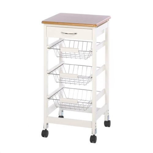 tables yepey kitchen side table KITCHEN SIDE TABLE TROLLEY This is the perfect kitchen trolley featuring three slide out storage baskets that are perfect for cookbooks