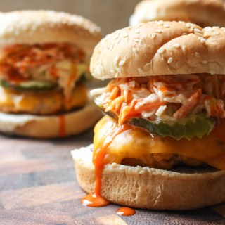 Buffalo Chicken Burgers with Celery Ranch Slaw | Yes to Yolks