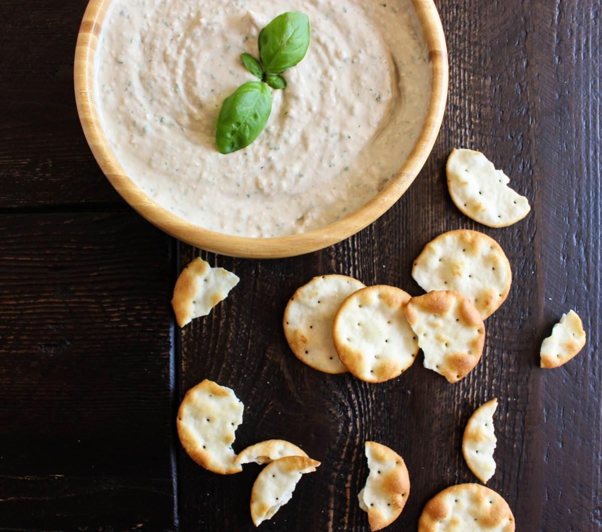 Garlicky White Bean & Basil Hummus