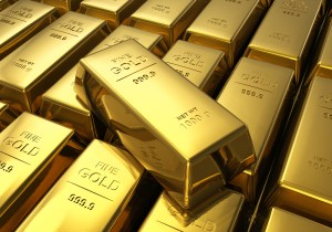 Picture of gold bullions stacked on top of each other