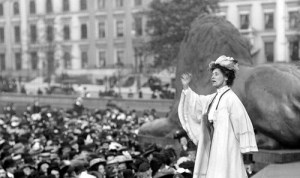 Sufferagette Emily Pankhurst at London's Trafalgar Square