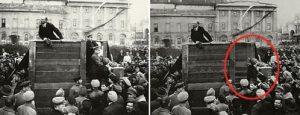 Discurso de Lenin, Kamenev y Trotsky a la derecha