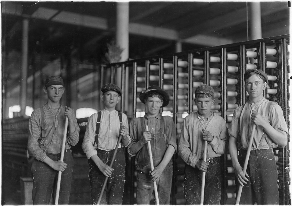 """Some of the sweepers in a cotton mill. North Carolina. - NARA - 523115"" by Lewis Hine - U.S. National Archives and Records Administration. Licensed under Public Domain via Wikimedia Commons."