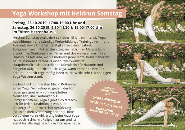"Yoga Workshop, 25.10. & 26.10.2019, in Pottenstein im ""Alten Herrenhaus"""