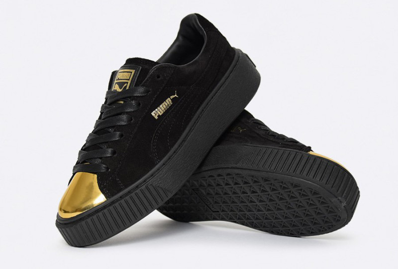 Puma Suede Platform Black Gold Toe Black