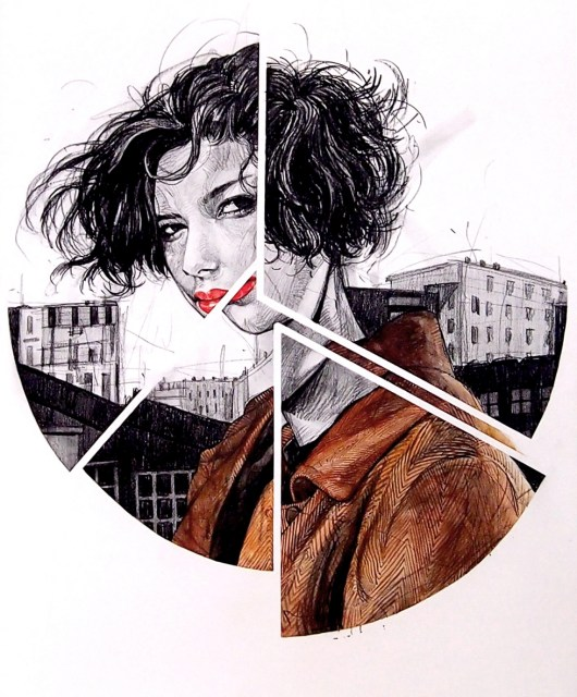 City Girl, 72.7 x 60.6(cm), pencil, conte, watercolor on canvas