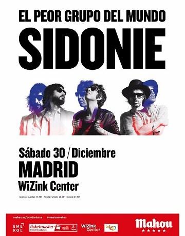 Concierto de fin de gira de SIDONIE el 30 de diciembre en el WiZink Center de Madrid.