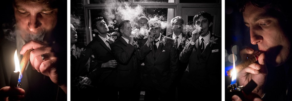 Groomsmen smoking cigars at the reception