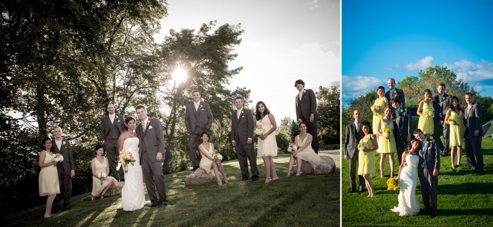 Bridal party on the grass at Plantera