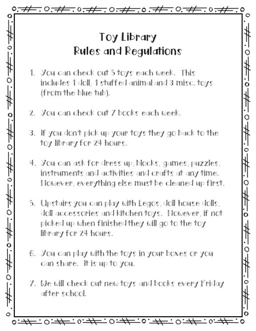 Toy libary rules and regulations