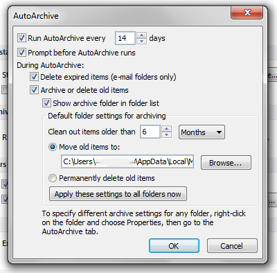 Configuring Autoarchive in Outlook 2010