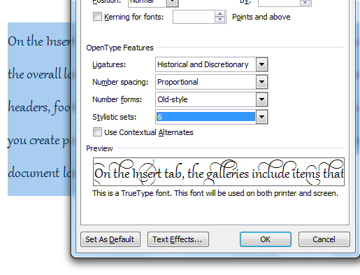 Using the Advanced Font typography in Office