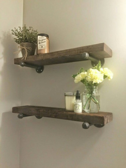 Medium Of Wooden Shelf For Bathroom