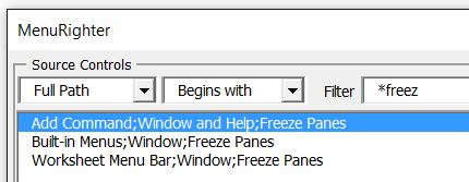 freeze panes search