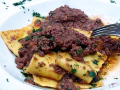 fresh flat pasta ribbons with wild boar ragù | Olivocarne | Yvanne Teo