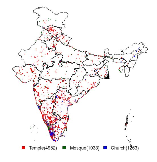 Distribution of Temples, Churches and Mosques in India