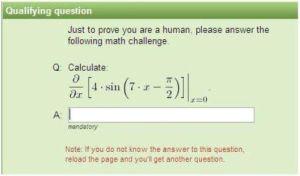 難解な数式のCAPTCHA