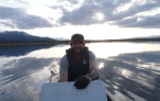 Devon Yacura works on his assessment of PPCPs the Whitehorse sewage lagoons.