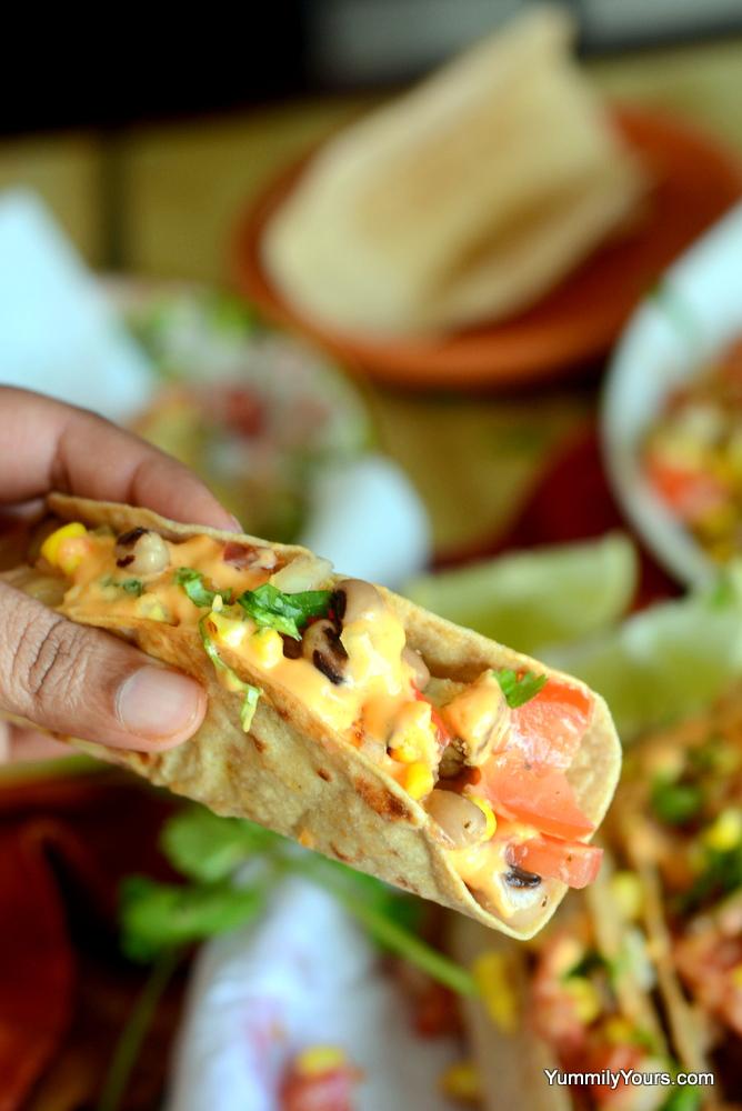 whole wheat, vegetarian tacos